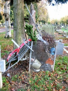 Litter in Brandwood End Cemetery
